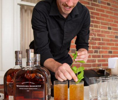 Nathan Stover (Paramour Bartender) puts the finishing touches on the Mint Juleps