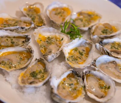 Spring Garlic Grilled Oysters