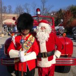 Santa with Valley Forge Military Academy Field Music Group Drum Major