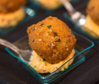 Jalapeño Hushpuppies with Pimento Cheese Spread