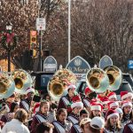 Santa paraded through Wayne along with the Radnor High School Marching Band & Cheerleaders