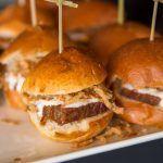 Braised Brisket Sliders with Crispy Onions & Horseradish Aioli