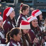 The Radnor High School Marching Band & Cheerleaders joined Santa in a lively parade