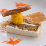 Carrot Cake with Cream Cheese and White Chocolate icing, toasted coconut, Mango Sorbet and Coconut Tuile