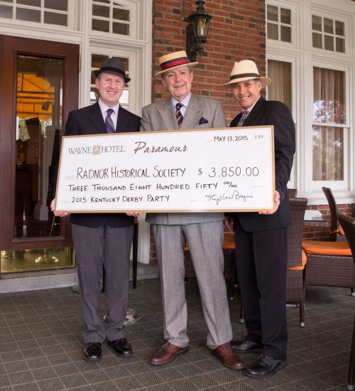 Pictured left to right: David Brennan (General Manager of the Wayne Hotel), George Strimel (President of the Board for Radnor Historical Society), Joseph Amrani (General Manager of Paramour)