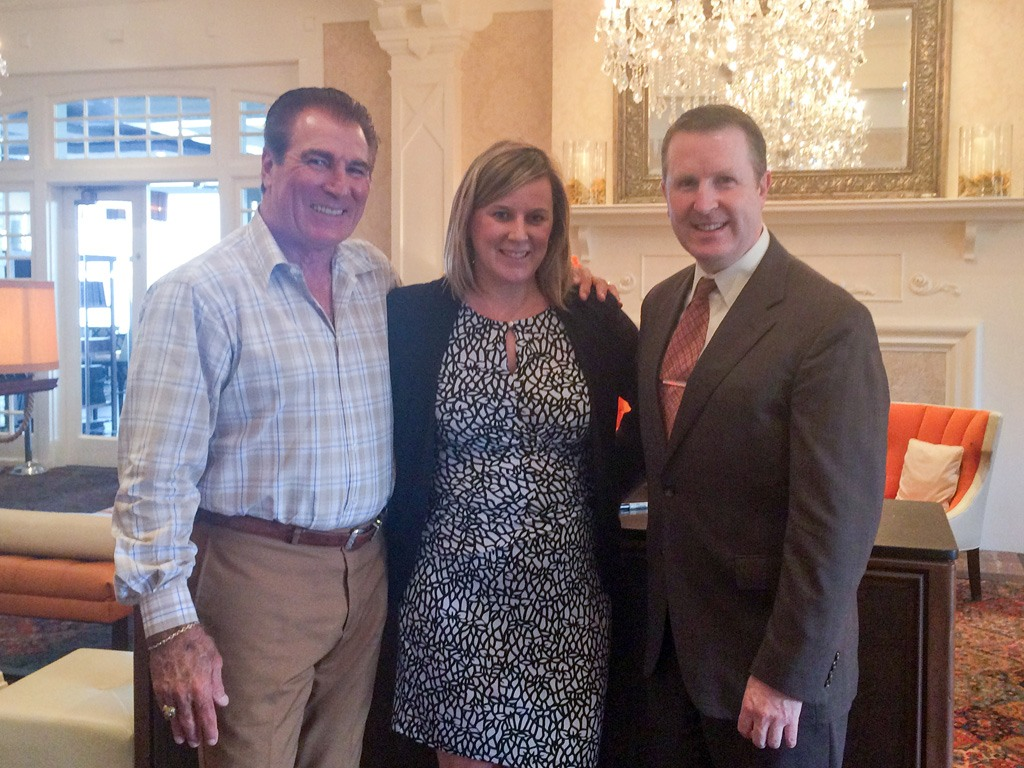 Vince Papale, former Philadelphia Eagle, with Meghan Sullivan, Private Events Sales Manager at Paramour, and David Brennan, General Manager of the Wayne Hotel