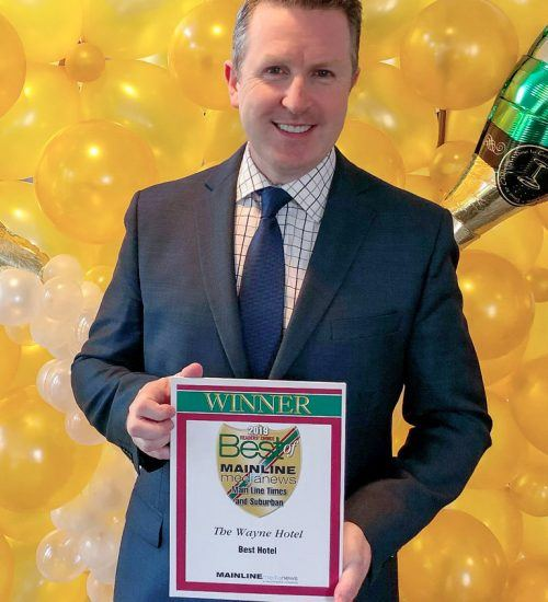 David Brennan, General Manager of the Wayne Hotel, accepted the Main Line Media News Readers' Choice Award for Best Hotel